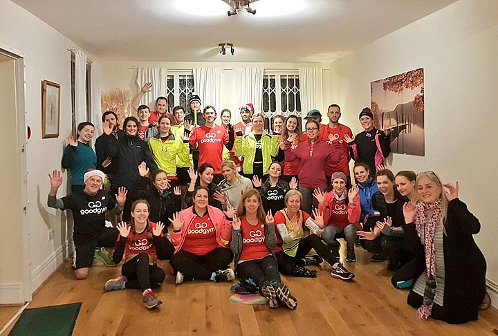 Paint the halls and clear the shed... Tra la la la la la la la la la ... GoodGym runners dressed in red... Tra la la la la la la