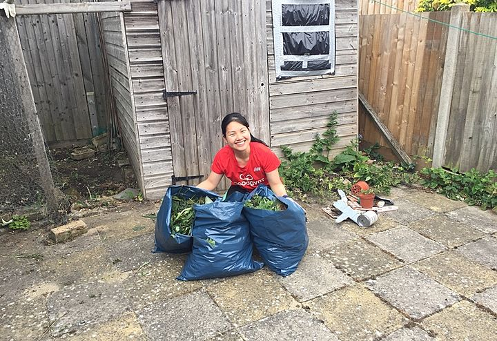 Helping out in the front garden for Mrs and Mr B