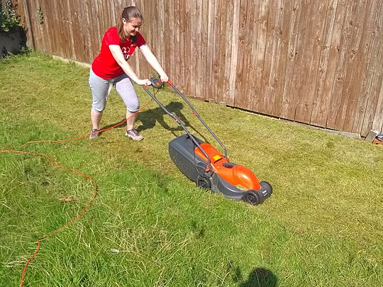 A rolling mower gathers much moss!