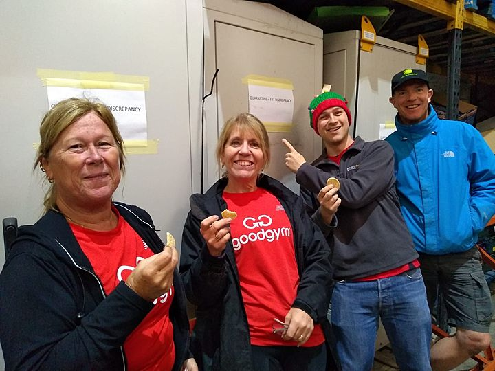 On the first run report of Christmas, GoodGym gave to me…a tower of turkey trays, a giant box of tinsel, and a huge pair of Brussel sprout pants!