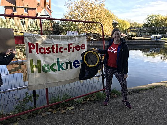 Litter picking along the River Lea with Plastic Free Hackney