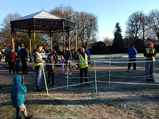 Here we go round the park on a cold and frosty morning….