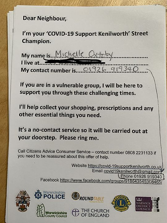 Leafleting neighbours offering support as Street Champion