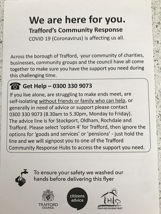 WALKABLE: LEAFLET DROP  FOR STRETFORD COMMUNITY HUB- SUPPORT FOR ISOLATED OLDER PEOPLE DUE TO COVID-19