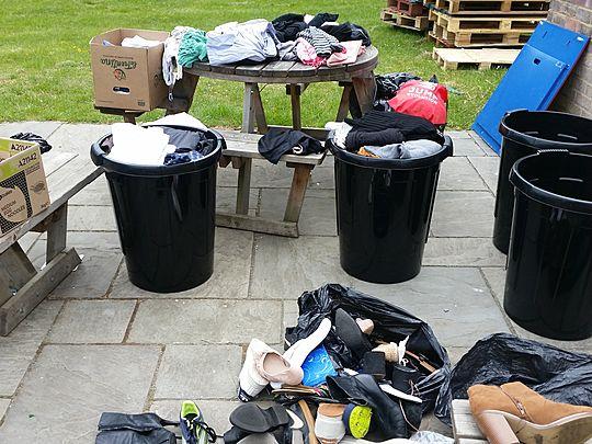 Food bank & sorting clothing