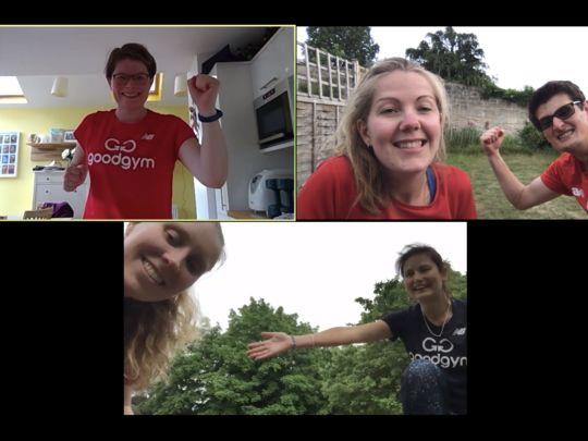GoodGym Bath virtual tabata workout - we love air jacks!