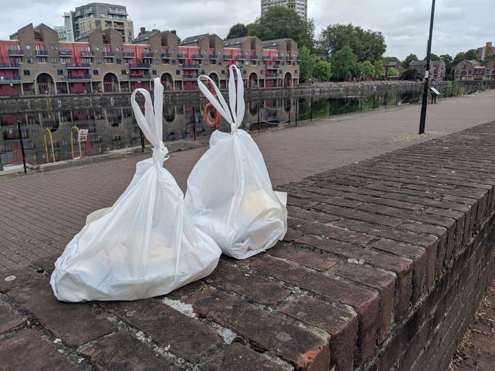 A couple of plastic Wapping bags