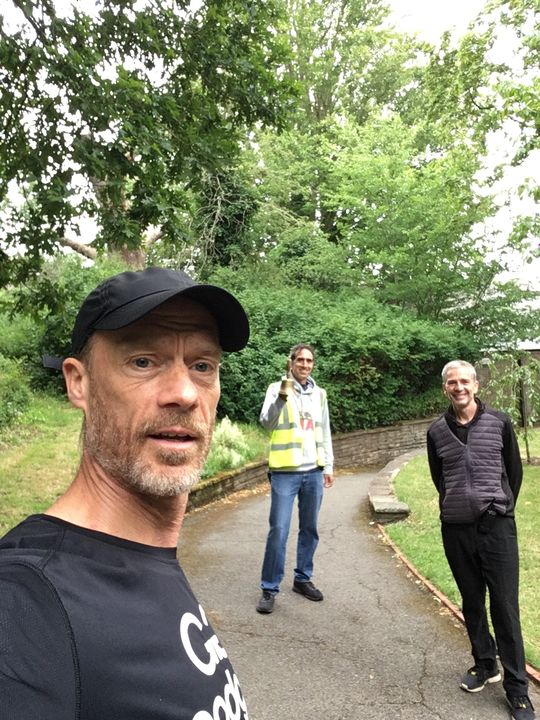 Even Stephens!.. as two pairs of runners help a charity park.