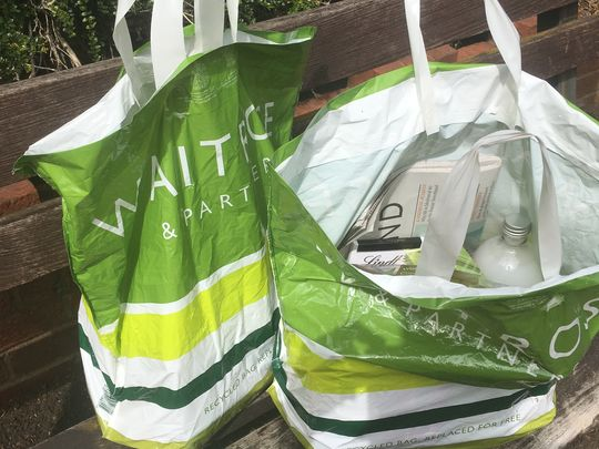 Green bags, green mask