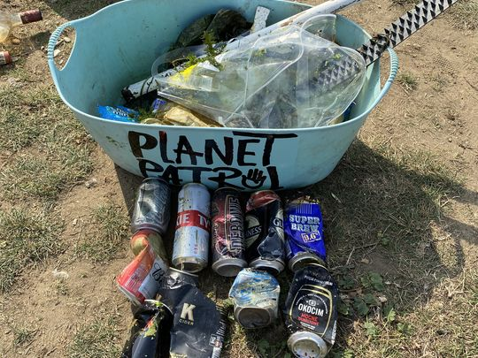 Litter picking for world cleanup day