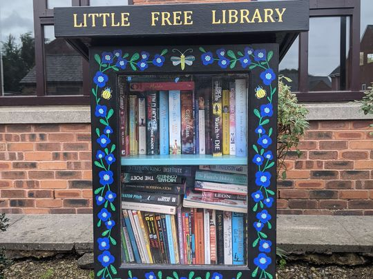 Checking on Colton Leeds Little Free Library