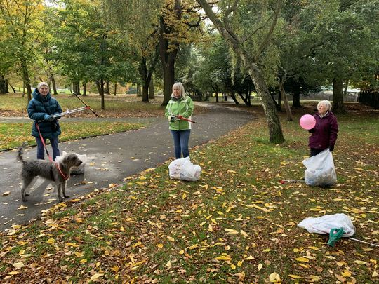 Blowing Litter Away At Potternewton Park
