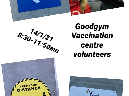 Volunteers at the COVID vaccination hub