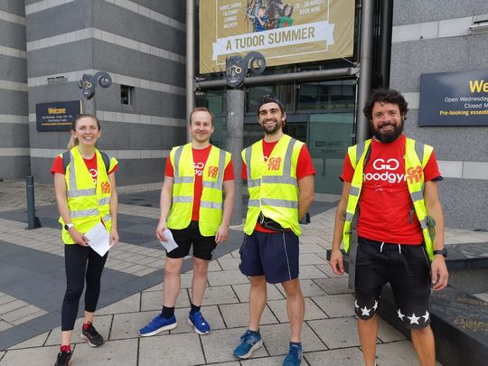 Marshaling and motivating runners at the Leeds Dock Relays