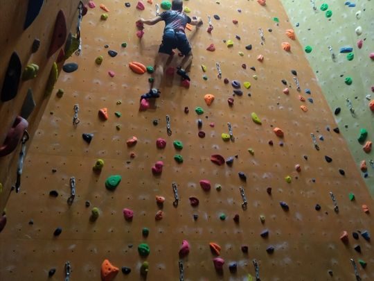 Trying our hands (and feet) at climbing