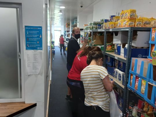 Souper work packing parcels at the foodbank